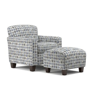 Handy Living Lincoln Park Blue Houndstooth Arm Chair and Ottoman