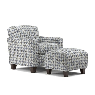 Exceptionnel Handy Living Lincoln Park Blue Houndstooth Arm Chair And Ottoman