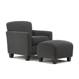 Handy Living Lincoln Park Grey Velvet Arm Chair and Ottoman