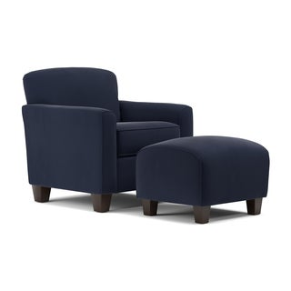 Handy Living Lincoln Park Navy Blue Velvet Arm Chair And Ottoman
