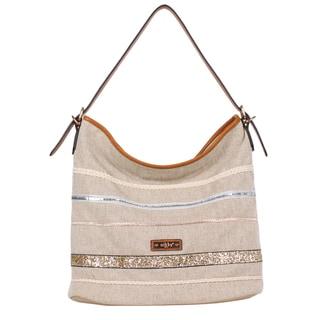 Nikky Eco-Friendly Inspired Design Beige Spacious Hobo Bag