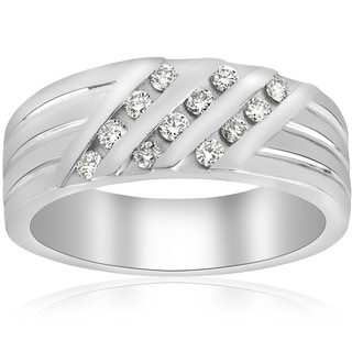 10k White Gold 1/2 ct TDW Diamond Mens Engagement Wedding Ring (I-J,I2-I3)