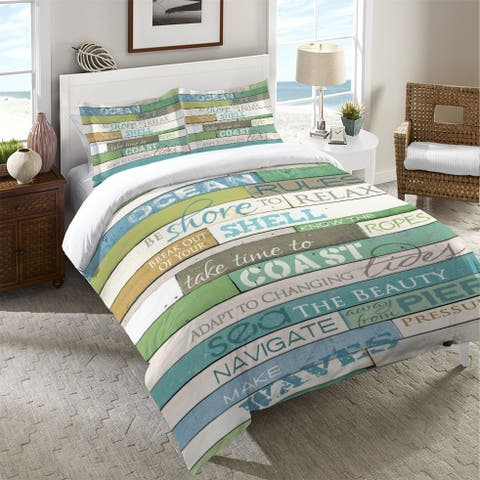 Laural Home Rules of the Ocean Duvet Cover (Shams Not Included)
