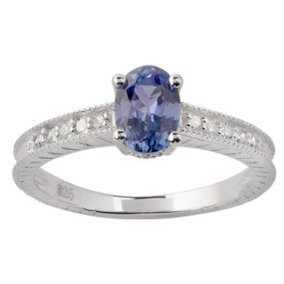 Viducci Sterling Silver Vintage Style Genuine Tanzanite Diamond Ring - Purple