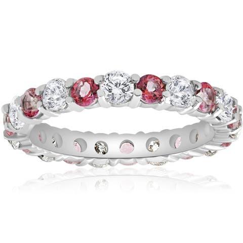 14k White Gold 2 cttw Pink Topaz & Diamond Womens Wedding Eternity Ring 14K White Gold (I-J,I2-I3)