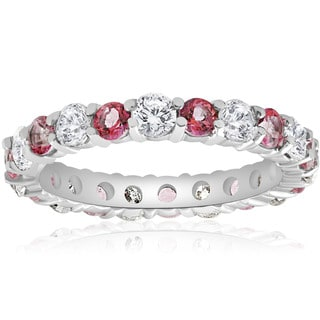 14k White Gold 2 cttw Pink Topaz & Diamond Womens Wedding Eternity Ring 14K White Gold (I-J,I2-I3)