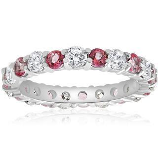 14k White Gold 2 cttw Pink Topaz & Diamond Womens Wedding Eternity Ring 14K White Gold (I-J,I2-I3)|https://ak1.ostkcdn.com/images/products/16324401/P22686965.jpg?impolicy=medium