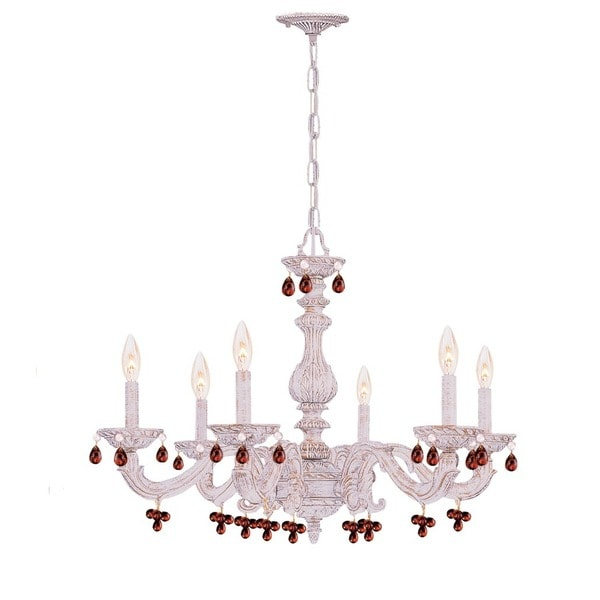 Crystorama Traditional 6-light Antique White/Amber Crystal Chandelier