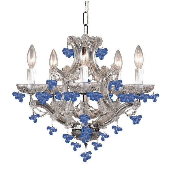 Crystorama Traditional 6-light Polished Chrome/Blue Crystal Mini Chandelier