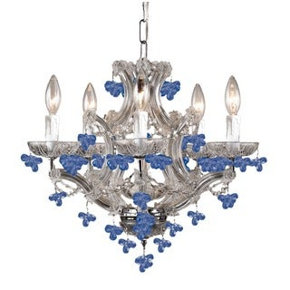 Crystorama Traditional 6-light Polished Chrome/Blue Murano Crystal Mini Chandelier