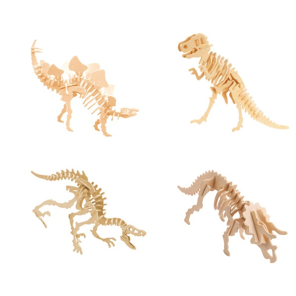 Smithsonian 3D Wooden Dinosaur Puzzle 4 Pack