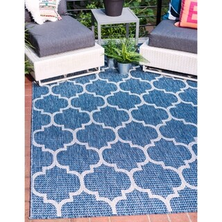 Outdoor Trellis Trellis Blue Area Rug (9' x 12')