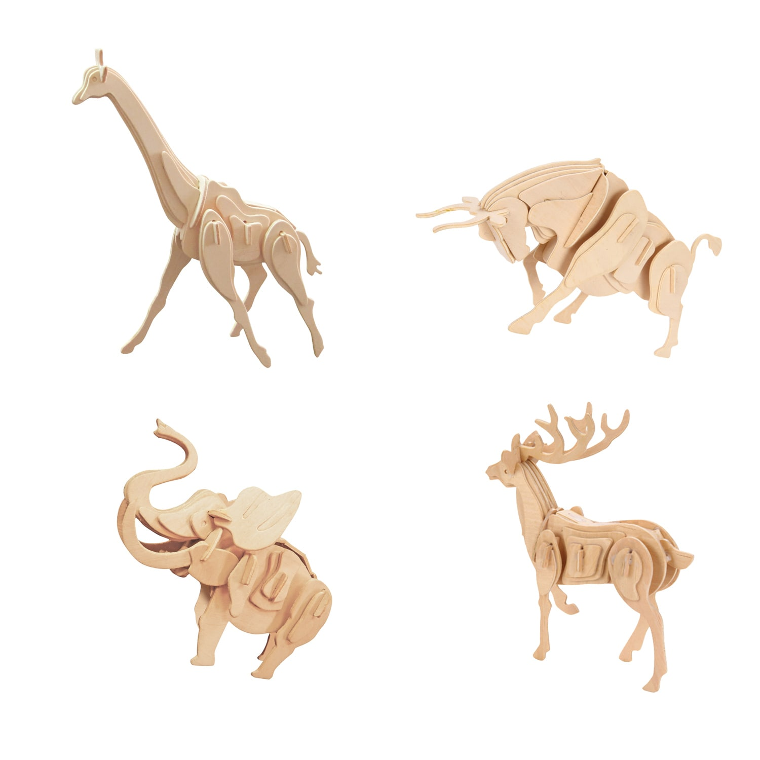 Smithsonian 3D Wooden Wild Animal Puzzle 4 Pack (4Pk Smit...
