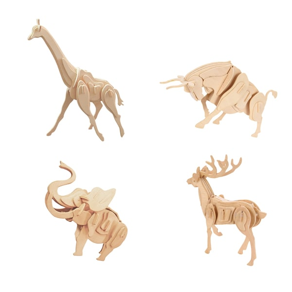 Smithsonian 3D Wooden Wild Animal Puzzle 4 Pack