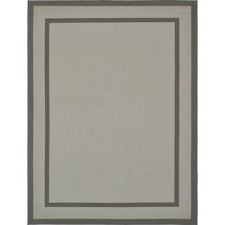 Border Light Grey/Silver Indoor/Outdoor Area Rug (9' x 12')