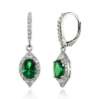 Glitzy Rocks Sterling Silver Simulated Emerald and White Topaz Oval-shaped Dangle Earrings