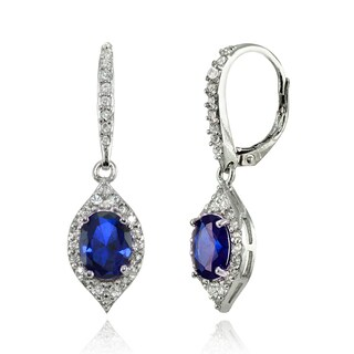 Glitzy Rocks Sterling Silver Created Blue Sapphire and White Topaz Oval-shaped Dangle Earrings