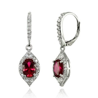 Glitzy Rocks Sterling Silver Created Ruby and White Topaz Oval-shaped Dangle Earrings