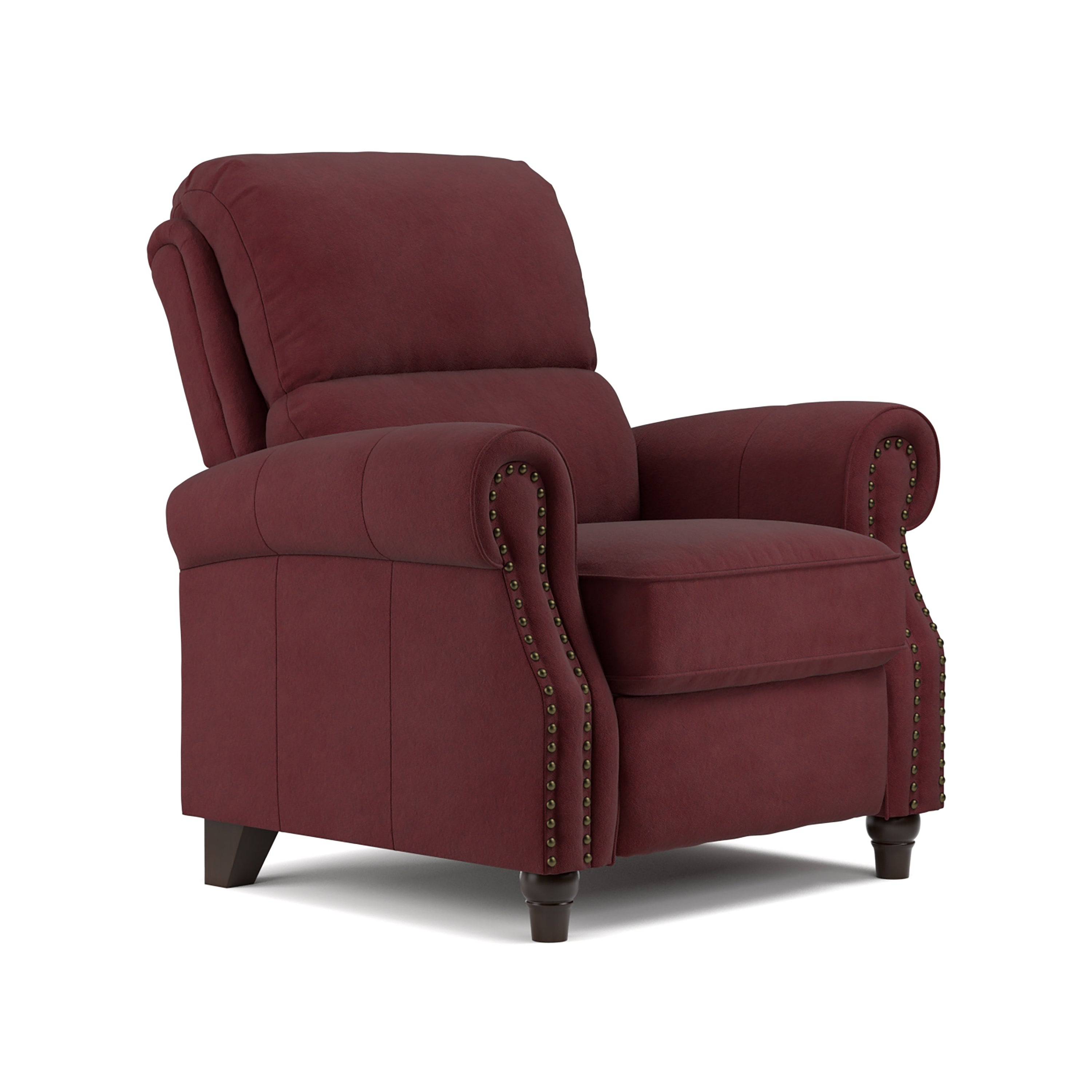 Beau ProLounger Burgundy Red Pebbles Suede Push Back Recliner Chair
