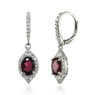 Glitzy Rocks Sterling Silver Garnet and White Topaz Oval-shaped Dangle Earrings