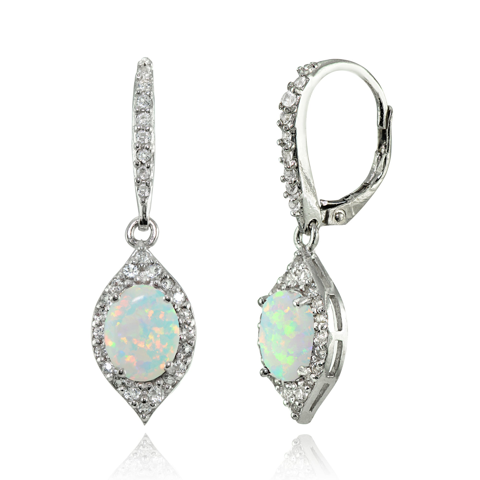 Silver Simulated Opal Oval Dangle Halo  Earrings with White Topaz Accents