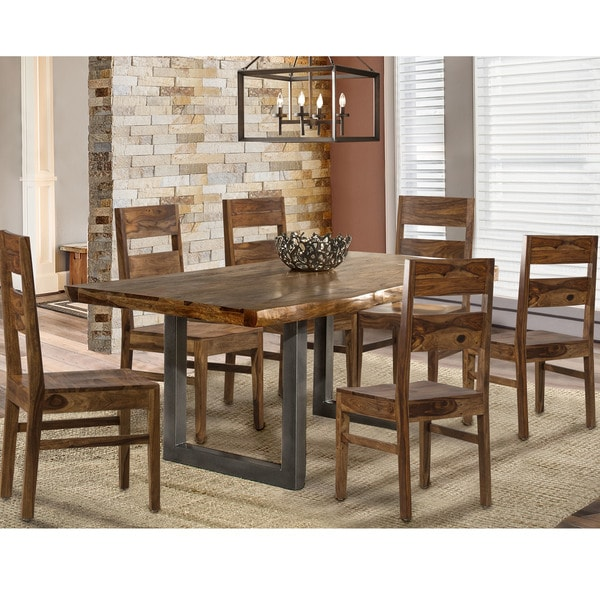 Hillsdale Furniture Emerson Natural Sheesham 7 Piece Rectangle Dining Set  With Wood Chairs