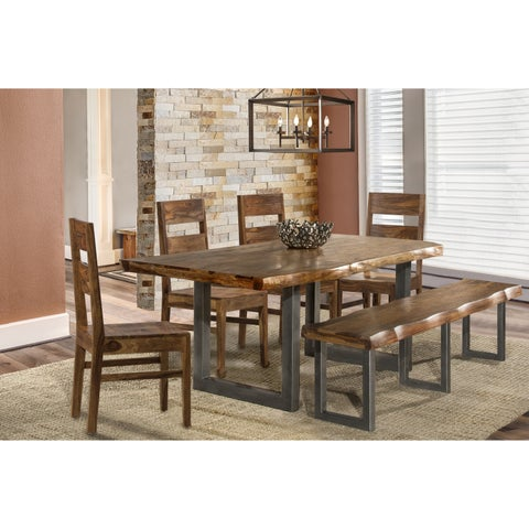Hillsdale Furniture Emerson Natural 6-Piece Rectangular Dining Set With 1 Bench and 4 Wood Chairs