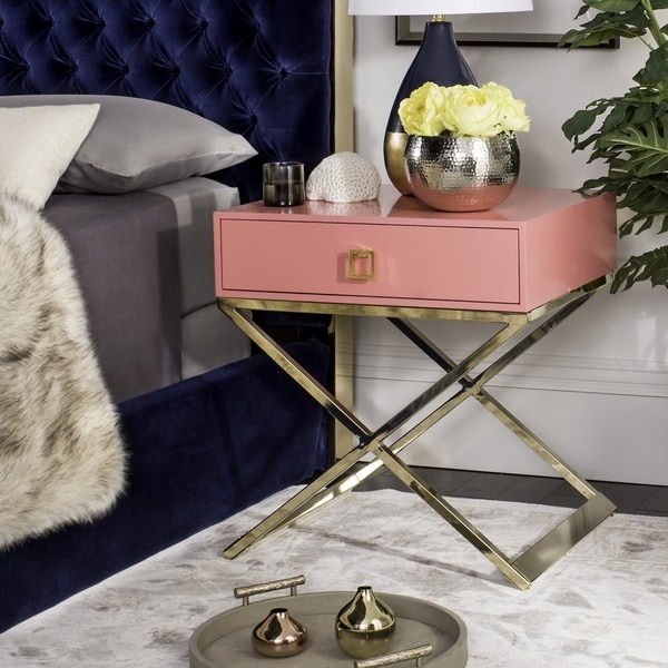 Safavieh Zarina Modern Cross Leg Pink End Table/ Night Stand