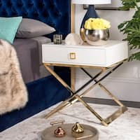 Safavieh Zarina Modern Cross Leg White End Table