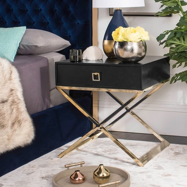 "Safavieh Zarina Modern Cross Leg Black End Table/ Night Stand - 24"" x 20"" x 25.3"""