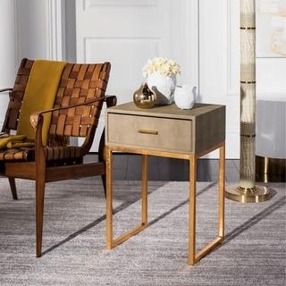 Safavieh Mori Shagreen Modern Light Taupe Side Table