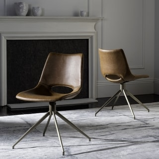 Safavieh Danube Mid-Century Modern Leather Swivel Light Brown/ Brass Dining Chair (Set of 2)