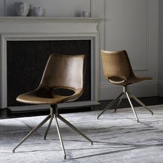 "Safavieh Danube Mid-Century Modern Leather Swivel Light Brown/ Brass Dining Chair (Set of 2) - 20"" x 22"" x 31.9"""