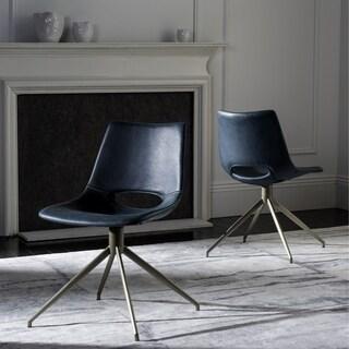 Safavieh Danube Mid-Century Modern Leather Swivel Blue/ Brass Dining Chair (Set of 2)