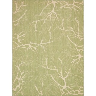 Turkish Transitional Light Green Abstract Outdoor Area Rug (9' x 12')