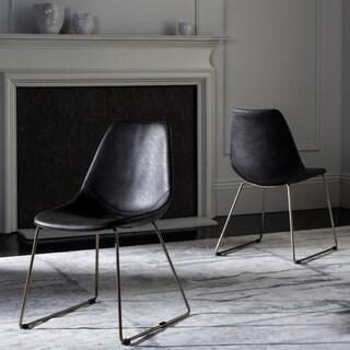 Safavieh Dorian Mid-Century Modern Leather Grey/ Copper Dining Chair (Set of 2)