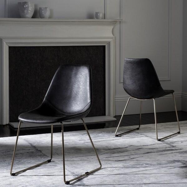 Shop Safavieh Dorian Mid-Century Modern Leather Grey