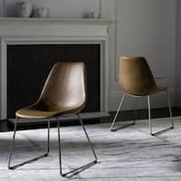 Safavieh Dorian Mid-Century Modern Leather Light Brown/ Copper Dining Chair (Set of 2)