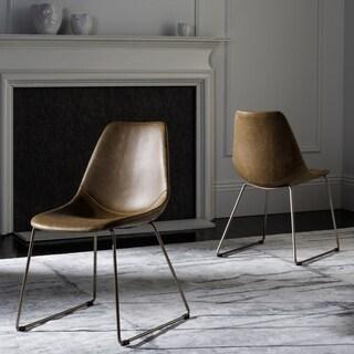 Safavieh Dorian Mid-Century Modern Leather Light Brown/ Copper Dining Chair (Set of 2)