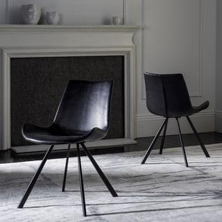 Safavieh Terra Mid-Century Modern Black/ Black Dining Chair (Set of 2)