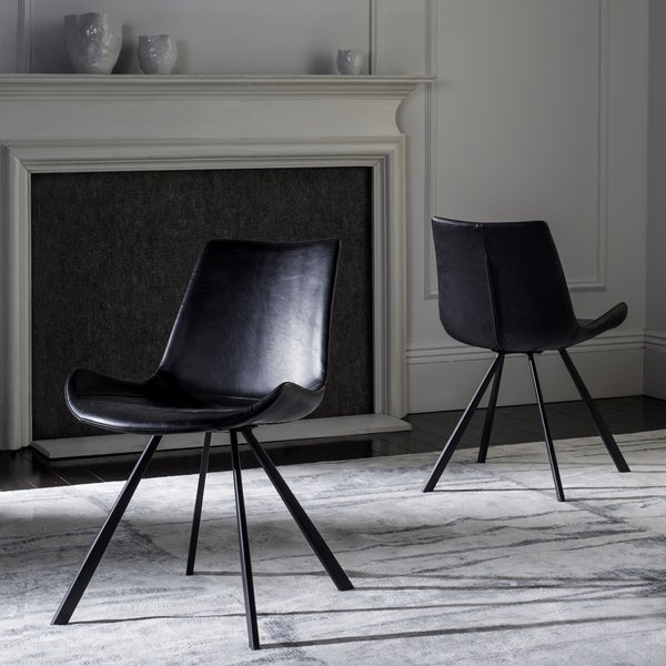 Safavieh Terra Mid Century Modern Black/ Black Dining Chair (Set Of 2)