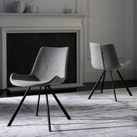 Safavieh Terra Mid-Century Modern Light Grey/ Black Dining Chair (Set of 2)