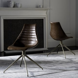 Safavieh Lynette Mid-Century Modern Leather Swivel Light Brown/ Brass Dining Chair (Set of 2)