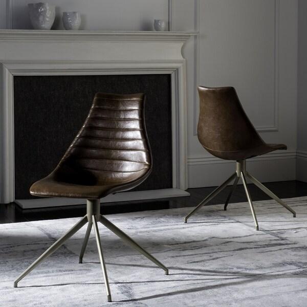 Safavieh Lynette Mid Century Modern Leather Swivel Light Brown Br Dining Chair Set