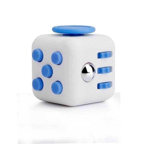 Fidget Cube Relieves Stress And Anxiety White & Blue