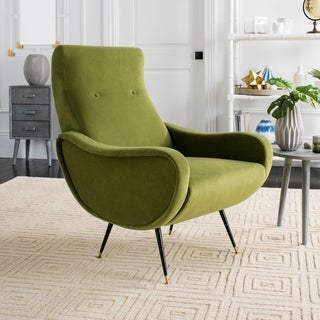Safavieh Mid-Century Modern Retro Elicia Velvet Hunter Green Club Chair