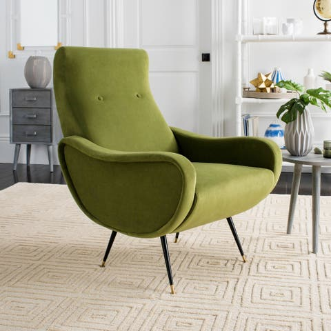 "Safavieh Mid-Century Modern Retro Elicia Velvet Hunter Green Club Chair - 28.5"" x 35"" x 37"""