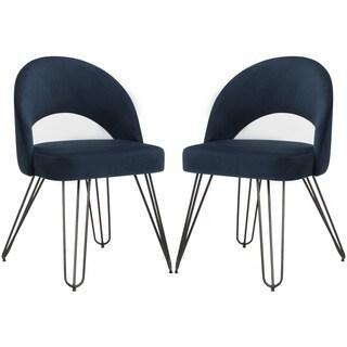 Safavieh Jora Velvet Retro Navy Side Chair (Set of 2)