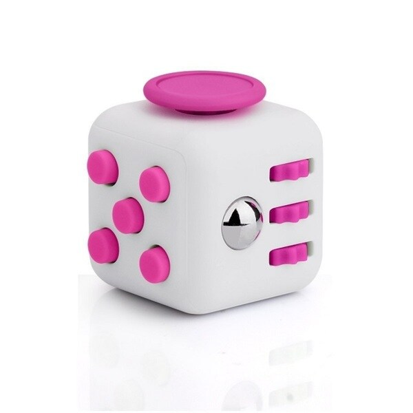 Fidget Cube Relieves Stress And Anxiety White & Pink