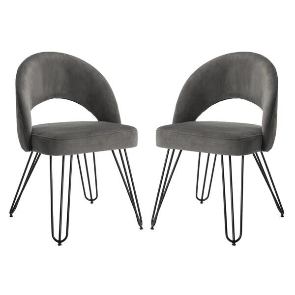 Safavieh Jora Velvet Retro Dark Grey Side Chair (Set Of 2)